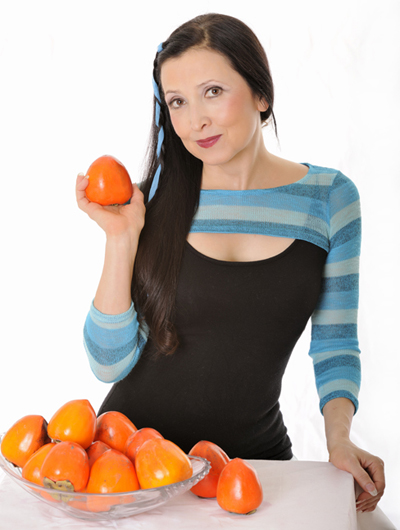 Tonya with Persimmons